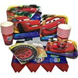 Disney Cars Birthday Party Bundle With Plates, Napkins, Cups & Tablecover (16 Guests)