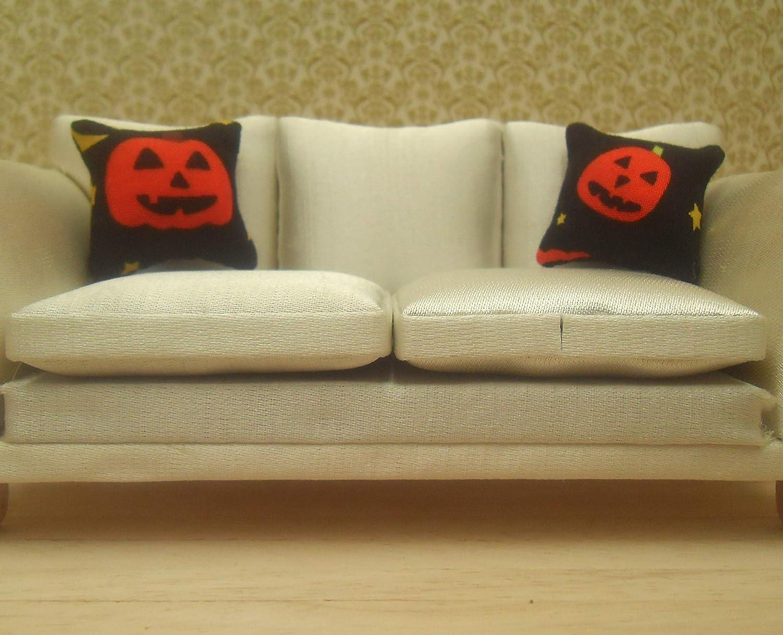 Pumpkin Heads Design C 1//12th Scale Dolls House Halloween Cushions