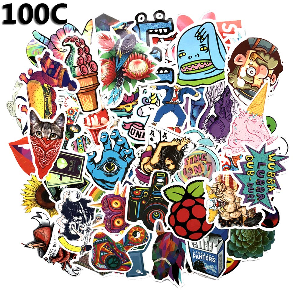 Amazon com 100 vinyl stick bomb evil lips sticker packs waterproof stickers