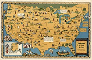 "???? USA Native American Indian Tribes | Pictorial Map Wall Poster ( 3 Sizes) (16""x24"")"