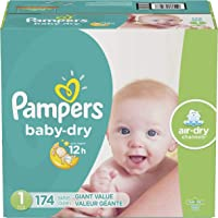 Pampers Pañales Desechables Baby Dry, Talla 1, 174 Piezas