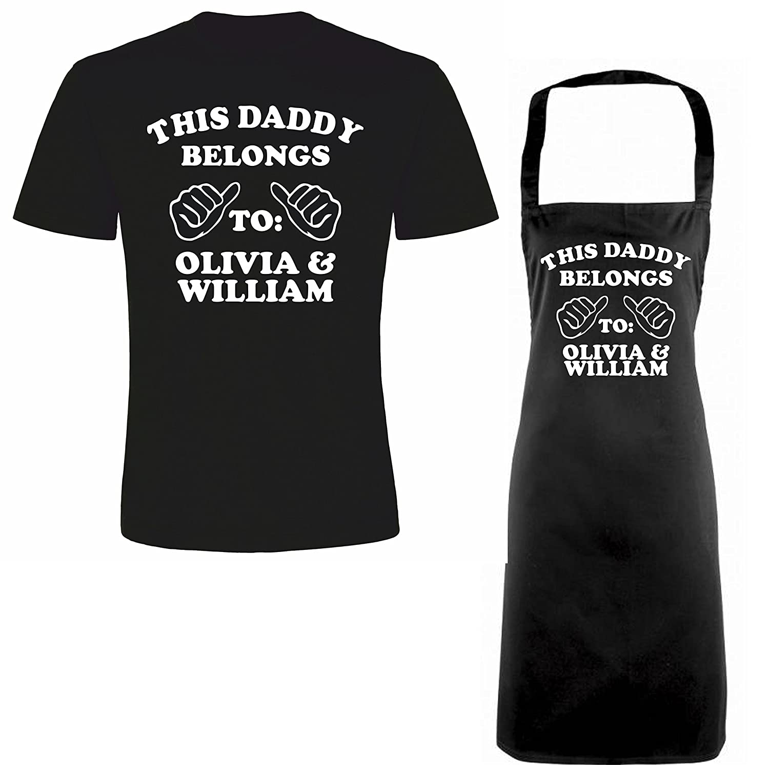 'THIS DADDY BELONGS TO:.....' Personalised Matching Fathers Day T-shirt & Apron Gift Set iin Black