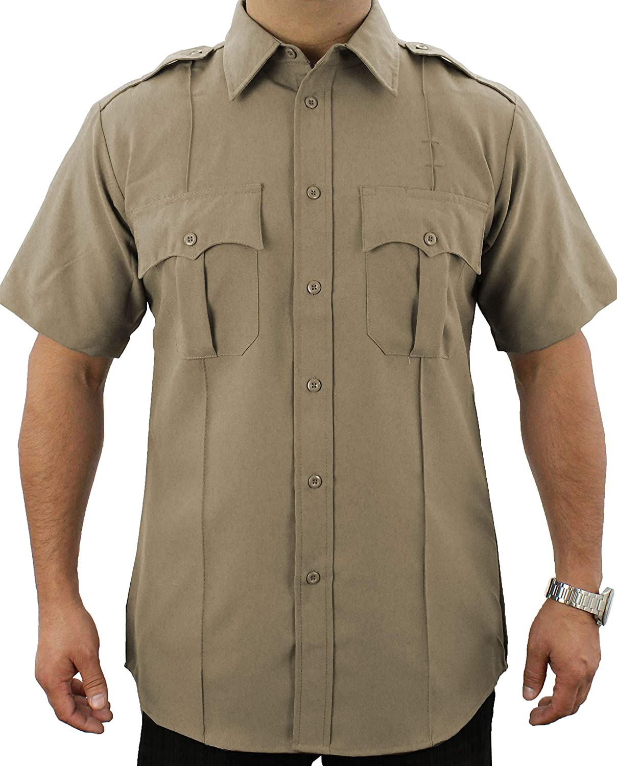 First Class 100% Polyester Short-Sleeve Adult Men's Uniform Shirt Tan