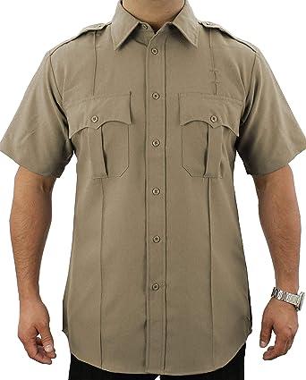 1a660397b88d Amazon.com: First Class 100% Polyester Short-Sleeve Adult Men's Uniform  Shirt Tan: Civil Service Uniforms Shirts: Clothing