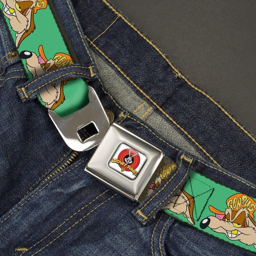1.5 Wide-32-52 Inches Buckle-Down Mens Seatbelt Belt Wile E el Hip hop Expression Green Coyote XL
