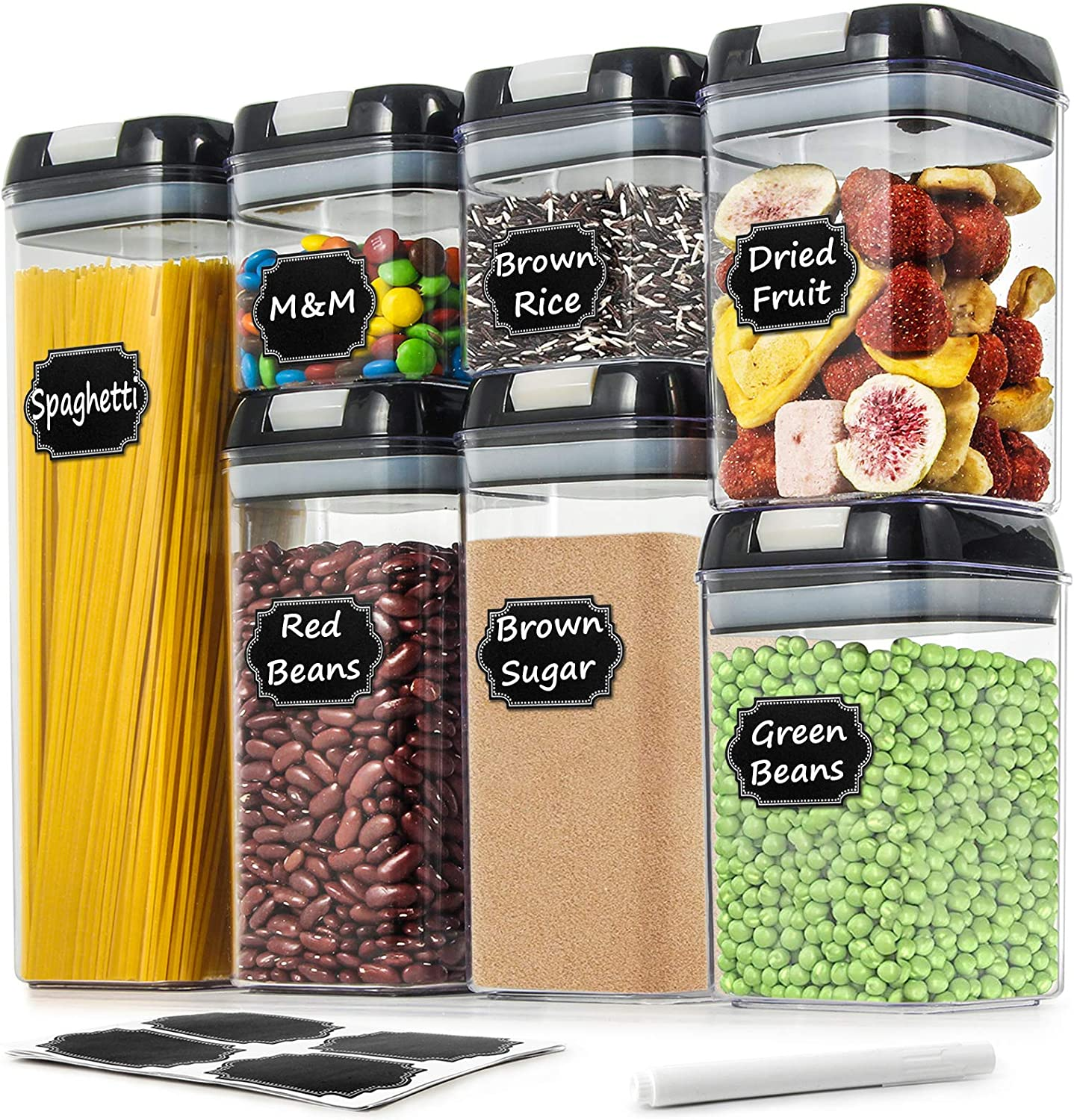 Airtight Food Storage Containers - Wildone Cereal & Dry Food Storage Containers Set of 7 with Easy Locking Lids, for Kitchen Pantry Organization and Storage, Include 20 Labels & 1 Marker