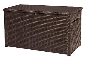 Keter 240304 Java XXL 230 Gallon Outdoor Storage Deck Box, Espresso Brown
