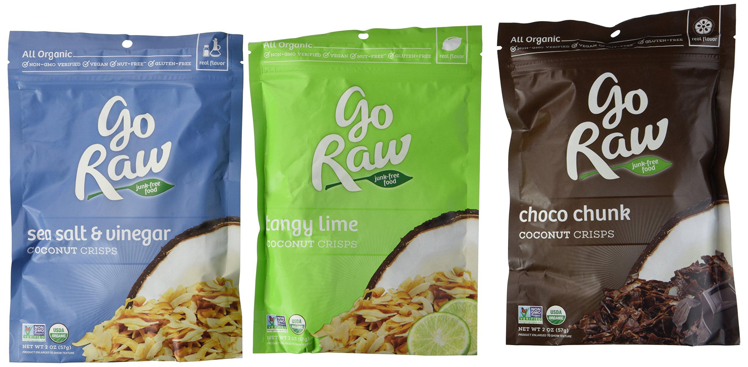 Go Raw All Organic Gluten-Free Coconut Crisps 3 Flavor Variety Bundle: (1) Go Raw Organic Choco Chunk Coconut Crisps, (1) Go Raw Organic Tangy Lime Coconut Crisps, and (1) Go Raw Organic Sea Salt & Vinegar Coconut Crisps, 2 Oz. Ea. (3 Bags Total)