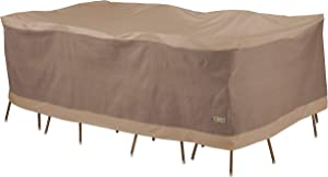 Duck Covers Elegant Waterproof 109 Inch Rectangular/Oval Patio Table & Chair Set Cover