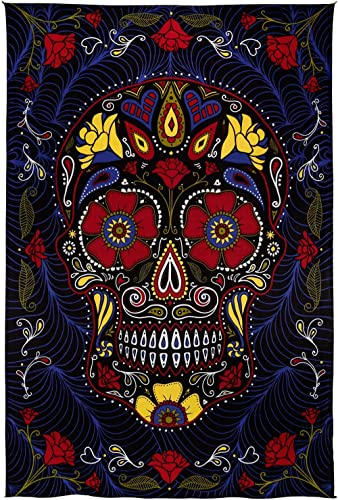 Sunshine Joy 3D Sugar Skull Tapestry Day Of The Dead Wall Art Beach Sheet Huge 60×90 Inches – Amazing 3D Effects