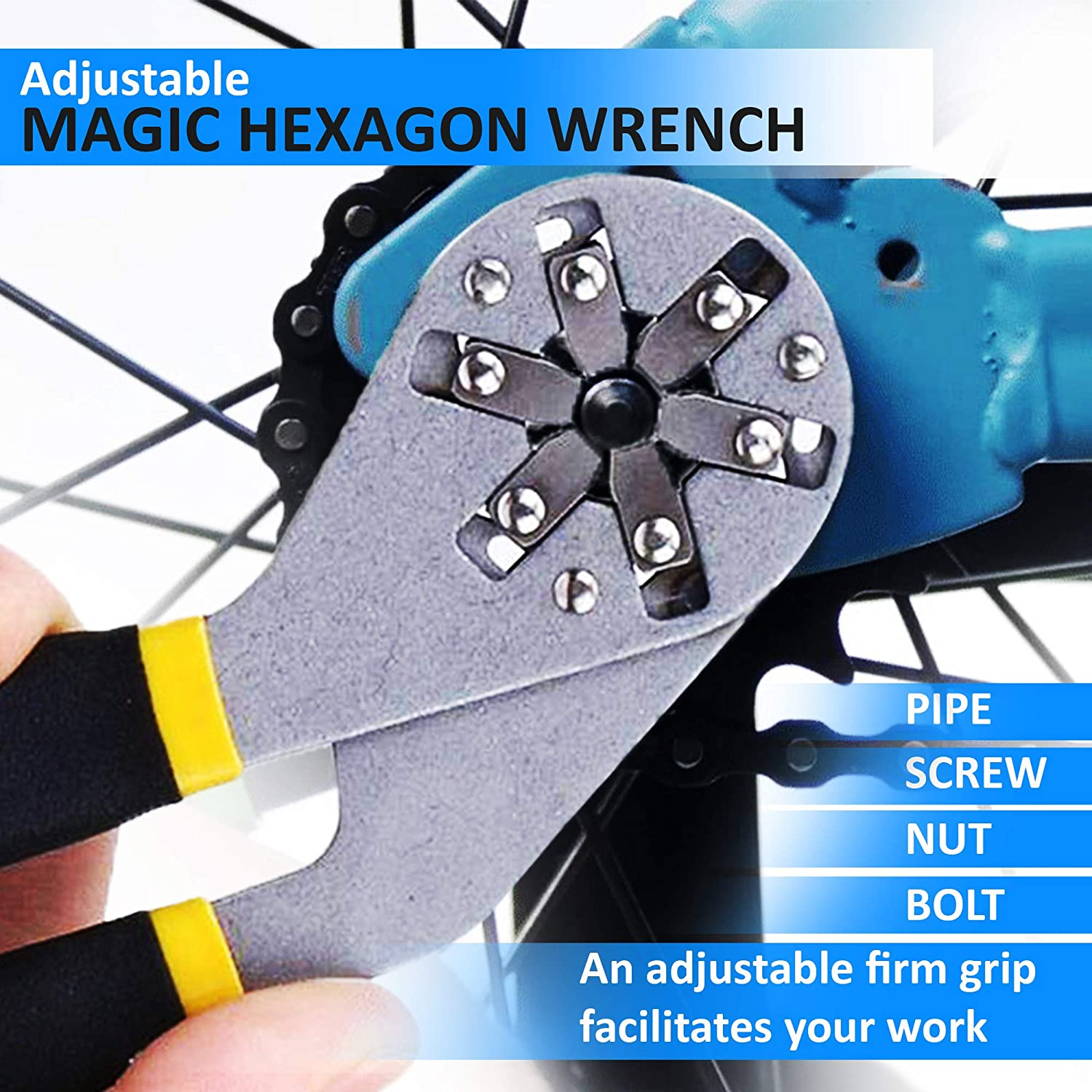 DZT 6 Inch Multi-Function Universal Adjustable Wrench EZgrip Magic Grip Hexagon Spanner Plier to Cover 14 Sizes