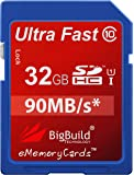 eMemoryCards 32GB Ultra Fast 90MB/s SD SDHC Memory Card for Panasonic Lumix DMC-FZ72EB-K Camera
