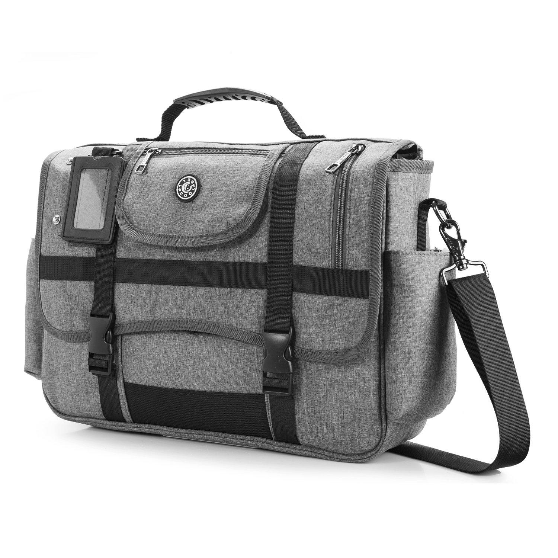 CoolBELL 15.6 Inch Laptop Shoulder bag Messenger Bag Case Sport Handbag Business Briefcase Multi-functional Travel Bag For Men (Grey)