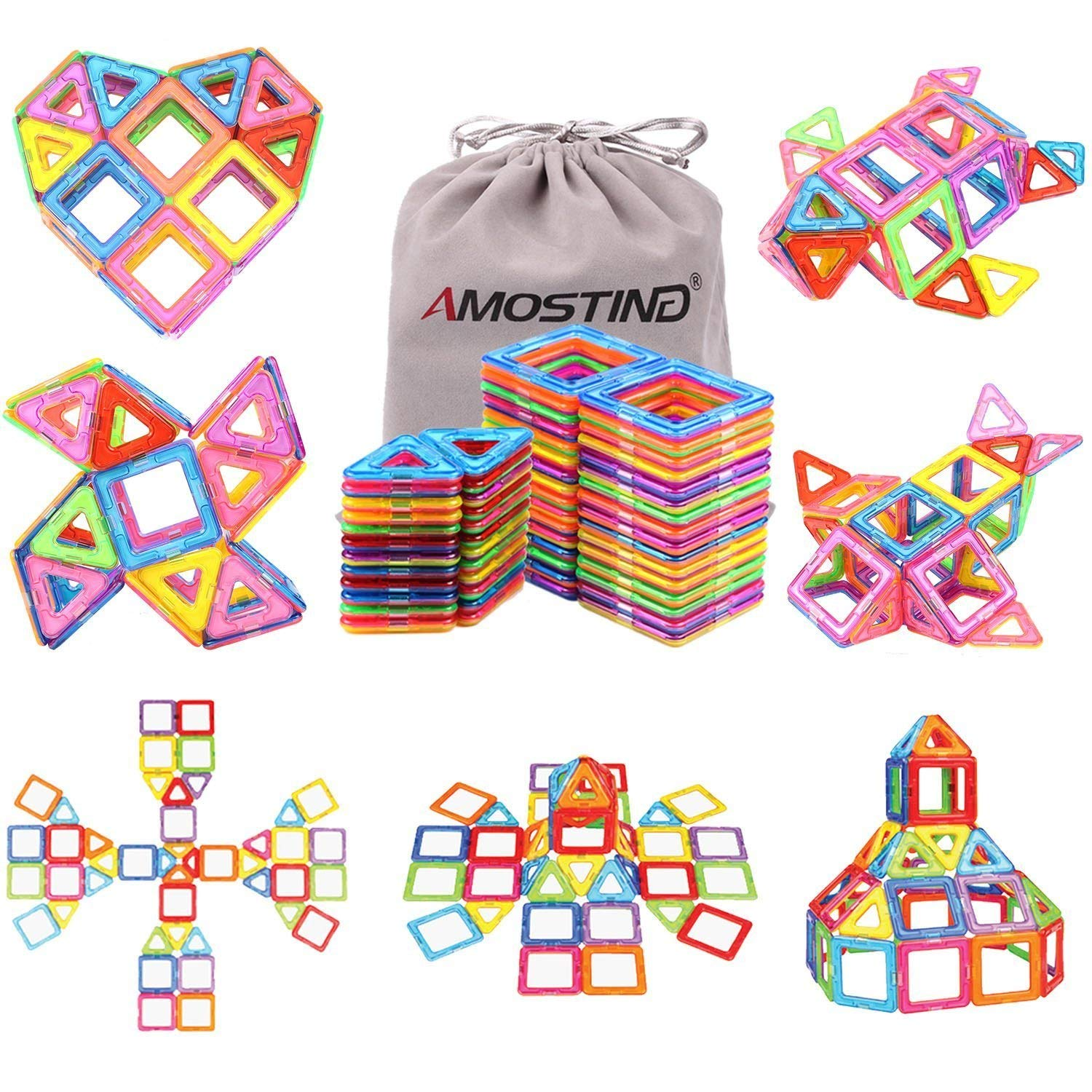 AMOSTING Magnetic Blocks Building Set for Kids, Magnetic Tiles Educational Building Construction Toys for Boys and Girls with Storage Bag - 56pcs