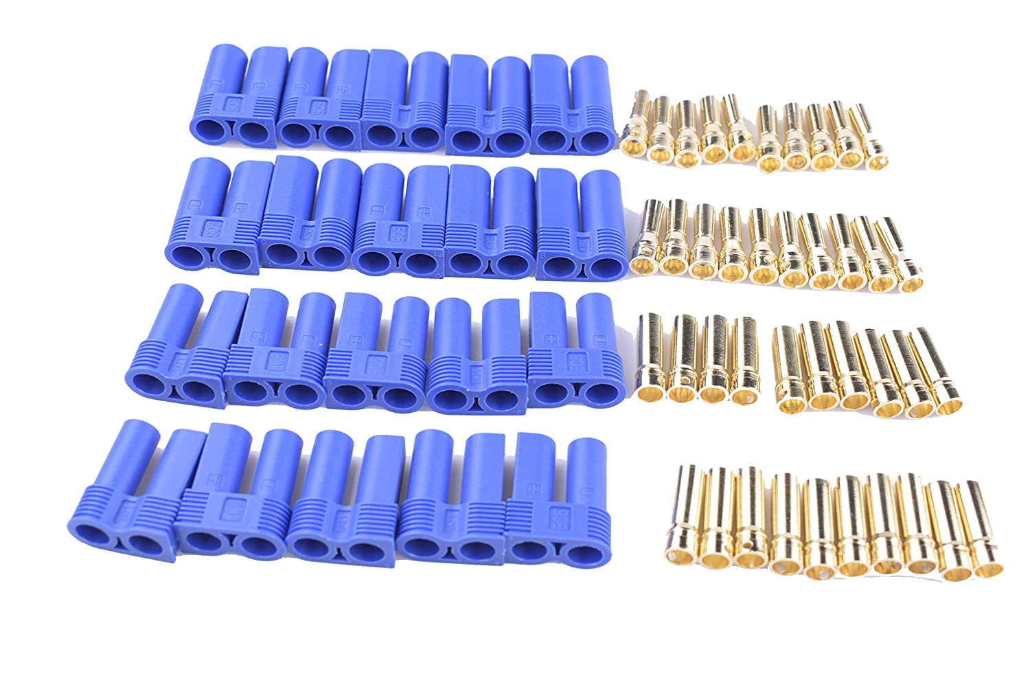 Hengfuntong-Elec 10 Pairs EC5 Battery Connector Plugs for RC Products Bullet Banana Style Lipo Male Female Sets