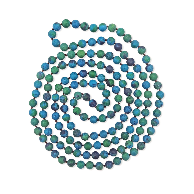 BjB Long Endless Matte Finish Semi-precious Stone Necklace, 60 Inches Long. (Azurite)