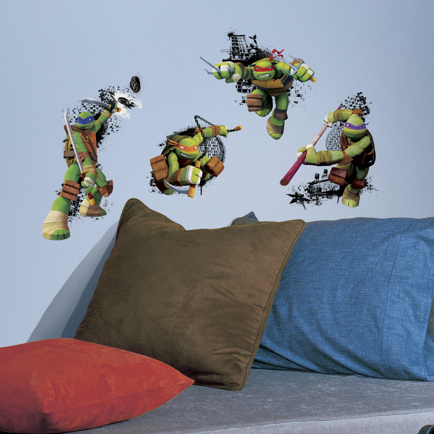"RoomMates RMK2769TB Teenage Mutant Ninja Turtles in Action Peel and Stick Giant Wall Decals, 18"" x 40"""
