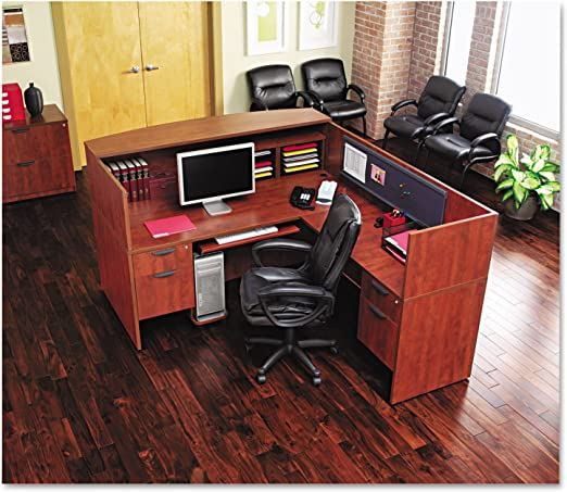 Alera Valencia Series Medium Cherry Straight Desk Shell