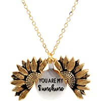 Sloong You Are My Sunshine Engraved Necklace Inspirational Sunflower Locket Necklace Jewelry for Women girlfriend