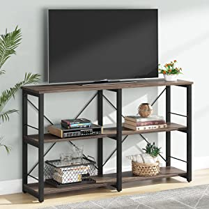 Tribesigns TV Stand for TVs up to 43 Inch, Rustic Industrial Entertainment Center with Storage Shelves, TV Console Table for Bedroom, Living Room