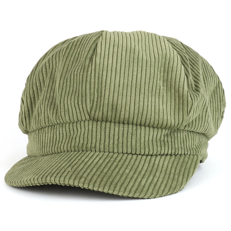 Trendy Apparel Shop Corduroy Textured Newsboy Style Cheyenne Cap - Olive