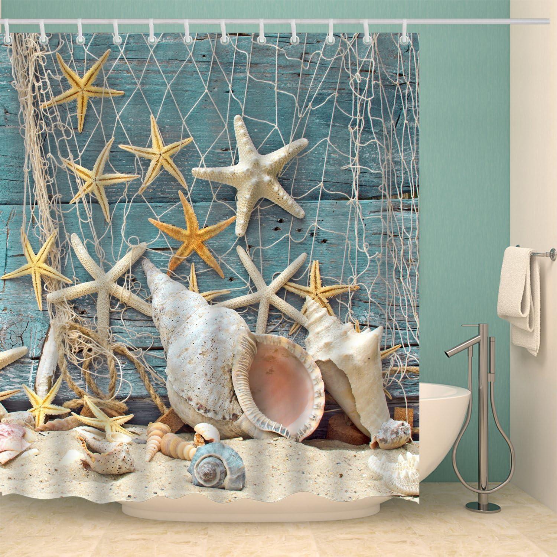 Seashell//Conch//Starfish Shower Curtain Fishing Nets Beach Ocean Decor Waterproof