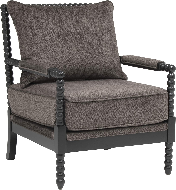 Studio Designs Home Colonnade Spindle Black Wood Frame Accent Chair in Dark Gunmetal Grey