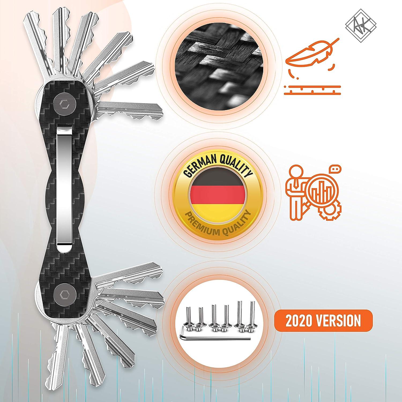 Premium-Hochleistungs Schl/üsselbund-Organizer bis 28 Schl/üssel -B0NUS- Schl/üsselanh/änger mit Schlaufenteil f/ür G/ürtel /& Autoschl/üssel Grau Schl/üsselorganizer Carbon Kompakt Mehr
