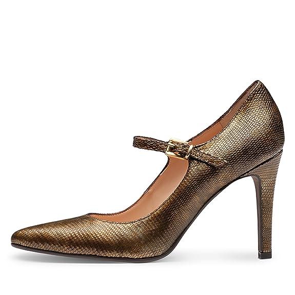 Ilaria Damen Pumps Geprägtes Leder Messing 41: Amazon.de: Schuhe &  Handtaschen