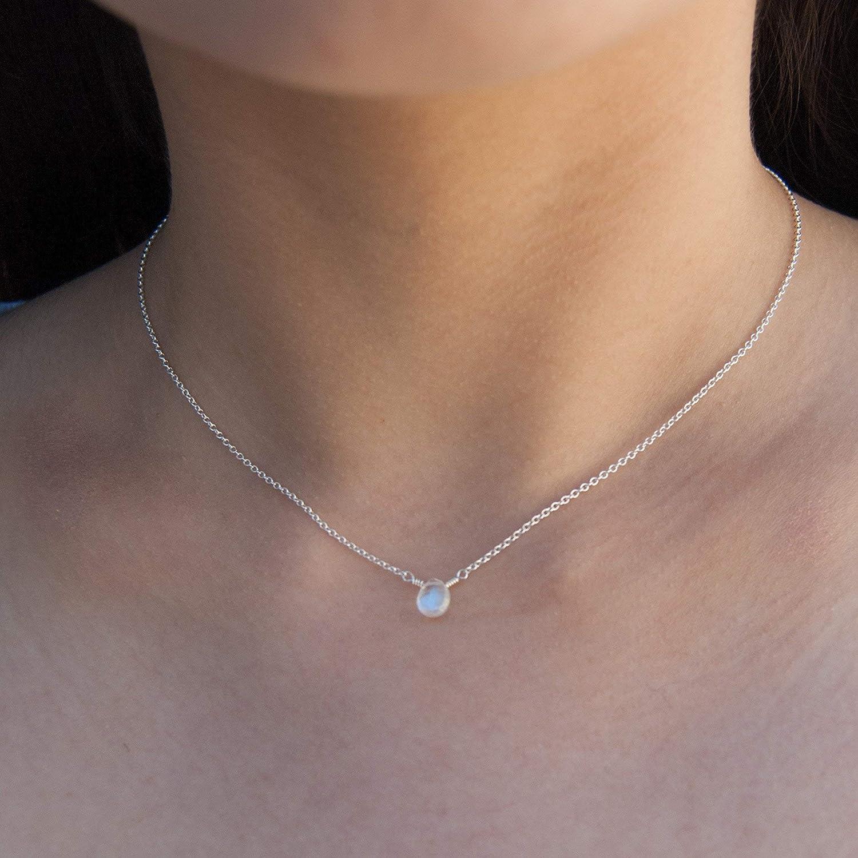 Very Small Rainbow Moonstone Choker Necklace June Birthstone
