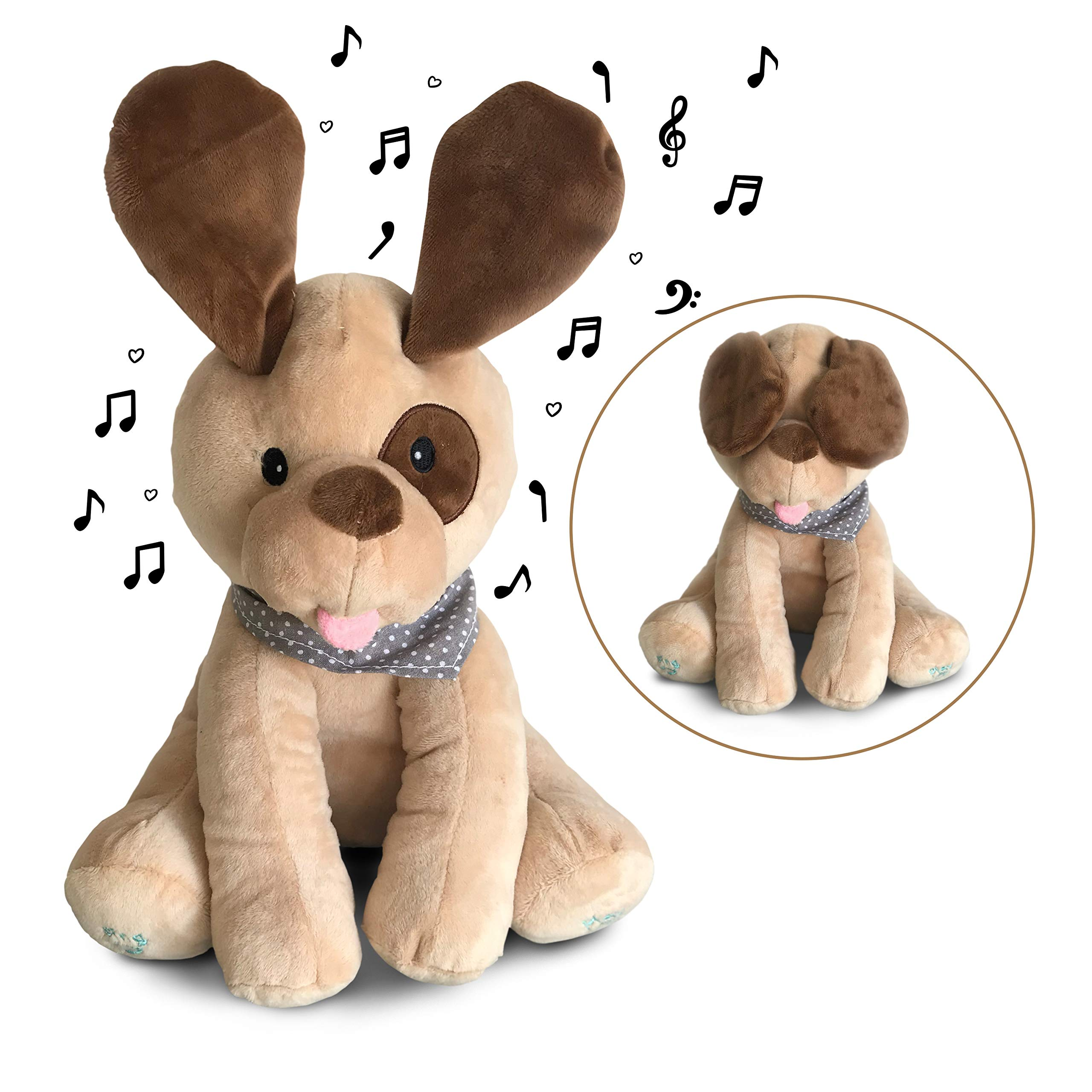 Plush Peek-A-Boo Puppy Dog Toy for Toddlers, Babies, Infants  -  Singing Interactive Stuffed Animals for Boys, Girls  -  Soft Musical Toys for Kids  -  Sings, Plays Games  -  Adorable by X & O Baby