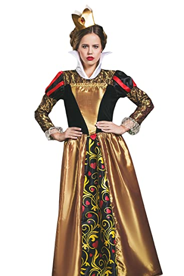 Adult Women Red Queen Halloween Costume Her Highness Royal Dress Up & Role Play (Small/Medium, gold, black, red)