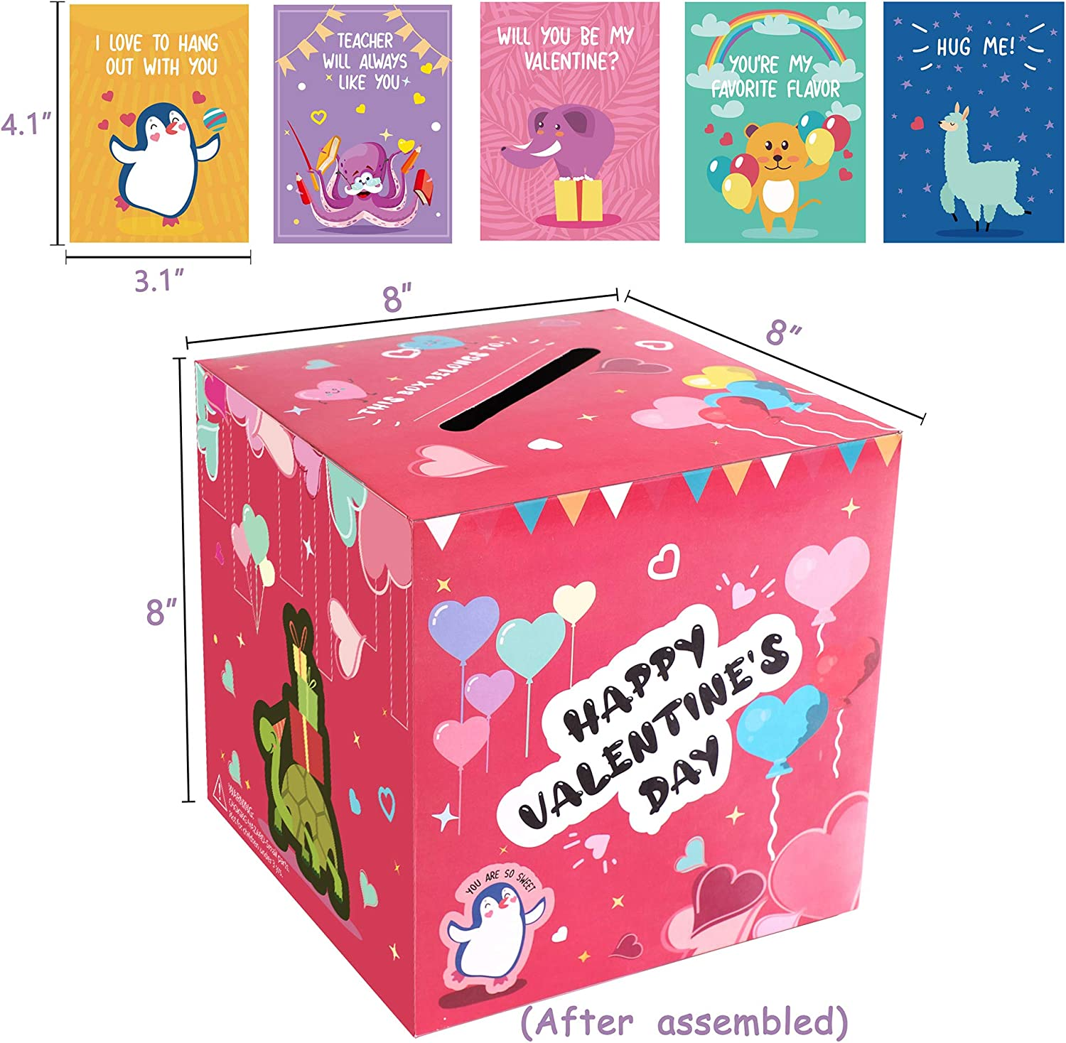 48 Stickers+8 Teacher Cards 32 Valentine Cards Valentines Boxes Mailbox for Kids-Valentines Day Cards for School Classroom Exchange Party Supplies 1 Box Assembly Needed