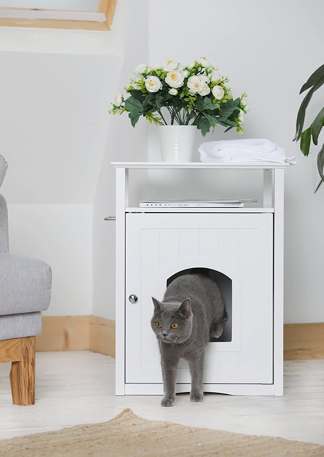 Trixie Pet Products Wooden Cat Home or Litter Box Concealer in White