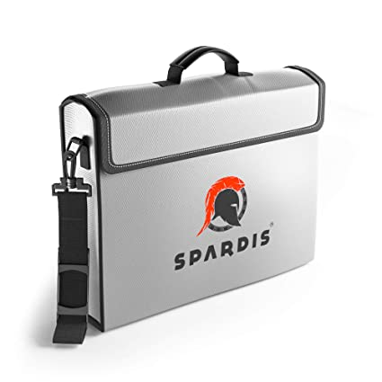 "def955ebe004 Spardis XXL (16"" x 12"" x 3.5"") Fireproof Document Safe Bag with Locking  Zipper – Heat Resistant to 2100 F Degrees with Dual Layer Silicone Coated  ..."