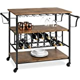 Best Choice Products 45in Industrial Wood Shelf Bar & Wine Storage Service Cart Trolley w/ 14 Bottle & 18 Glass Racks, Lockin