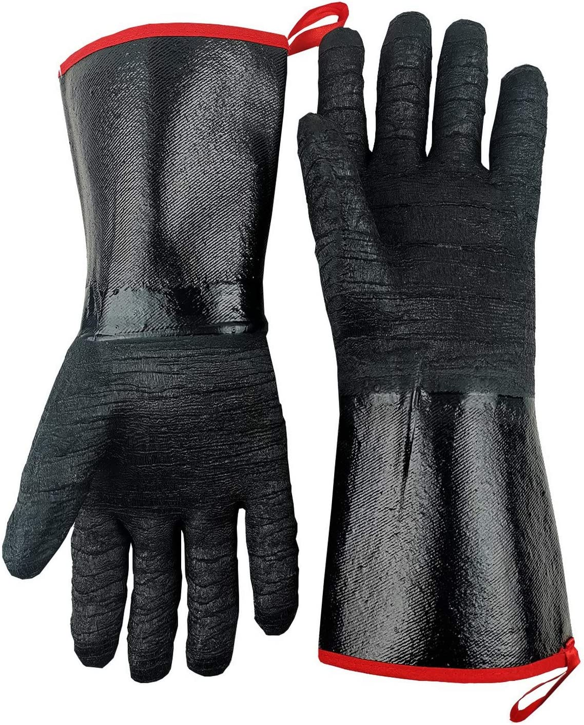 TUNGTAR BBQ Oven Gloves Heat Resistant-Smoker, Grill, Cooking Barbecue Gloves, for Handling Heat Food Right on Your Fryer,Grill, Waterproof, Fireproof, Oil Resistant Neoprene Coating,14 Inches,932℉,