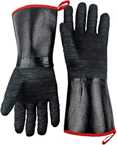 TUNGTAR BBQ Oven Gloves Heat Resistant-Smoker, Grill, Cooking Barbecue Gloves, for Handling Heat Food Right on Your Fryer,Grill, Waterproof, Fireproof, Oil Resistant Neoprene Coating,14 Inches,932?,