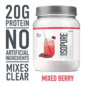 """ISOPURE INFUSIONS, Refreshingly Light Fruit Flavored Whey Protein Isolate Powder, """"Shake Vigorously & Infuses in a Minute"""", Mixed Berry, 16 Servings"""