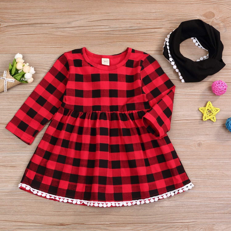 Christmas Toddler Baby Girl Princess Party Dress Red Plaid Tutu Dresses+Scarf US
