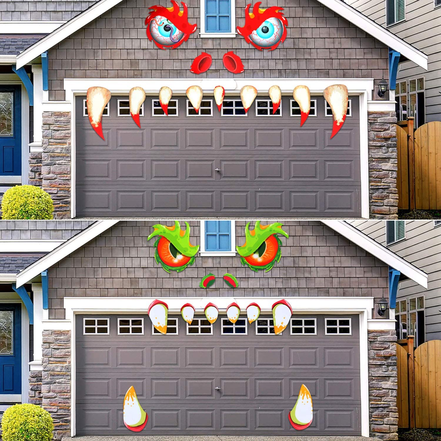 2 Sets Halloween Monster Face Decorations Outdoor Garage Archway Decor Haunted House Party Sticker Decoration with Eyes, Fangs, Nostrils for Halloween Supplies