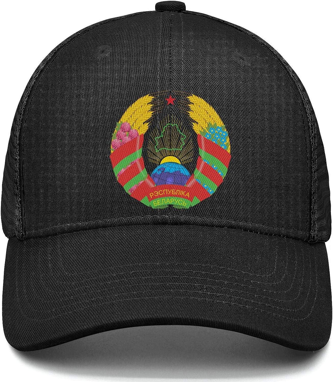 Belarus National Emblem Wheat Flower Womens Mens Mesh Cool Cap Adjustable Snapback Sun Hat