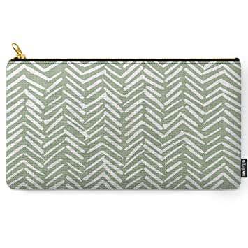 Boho, Abstract, Herringbone Pattern, Sage Green And White by Megan Morris on Carry All Pouch