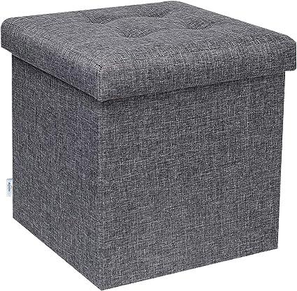 bonlife poufs et repose pieds boite de rangement jouet enfant pouf coffre petit meuble de rangement charge max de 150kg gris lin 32cm