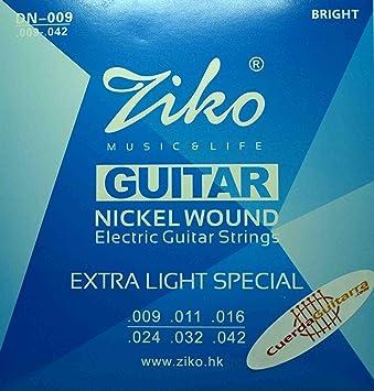2 Juegos de cuerdas marca Ziko para guitarra eléctrica Modelo DN-009 Calibre: 009-042 NIKEL: Amazon.es: Instrumentos musicales
