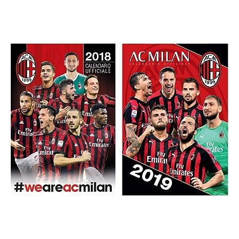 Calendario Ac Milan.Amazon Com Ac Milan 2018 2019 Calendar Combo Pack