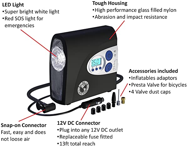 The tire inflator also has numerous accessories which make it a very versatile.