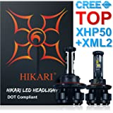 HIKARI LED Headlight Bulbs Conversion Kit - 9007 Hi/Lo ,Top CREE (XHP50+XM-L2) 9600lm 6K Cool White,2 Yr Warranty