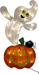 ProductWorks 90701_L2D_19 Spooky Town Ghost and Jack O'Lantern LED 2 Dimensional Halloween Yard Art with 35 Lights Seasonal Décor