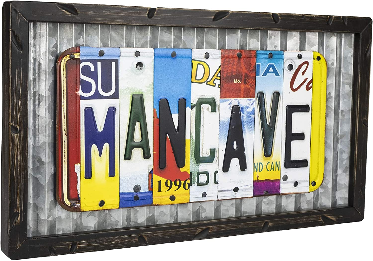 """Excello Global Products Vintage License Plate Mancave Sign: Includes Decorative Wooden Frame with Tin Metal Rustic Wall Decor (9"""" x 15.75"""")"""